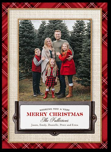 Plaid Border Greeting Christmas Card, Square