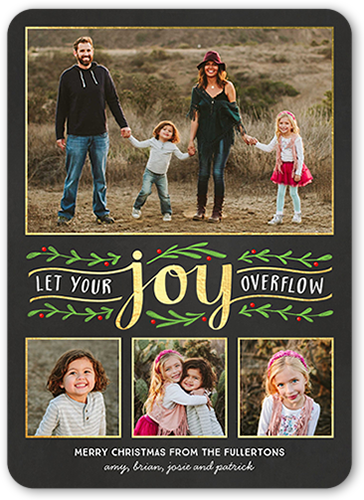 Let Your Joy Overflow Christmas Card, Rounded Corners