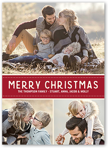 Merry Dotted Banner Christmas Card, Square Corners
