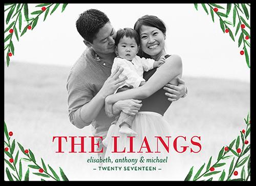 Elegant Foliage Greeting Christmas Card, Square