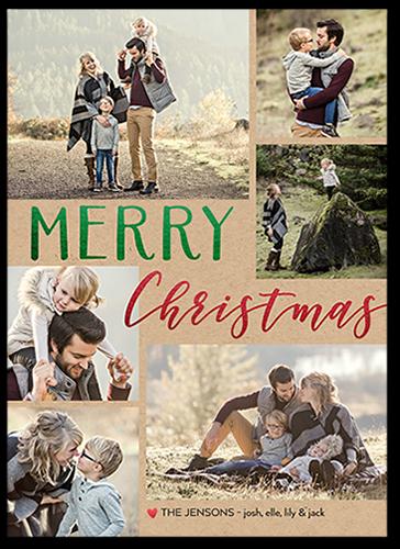 Contemporary Merry Christmas Card, Square Corners