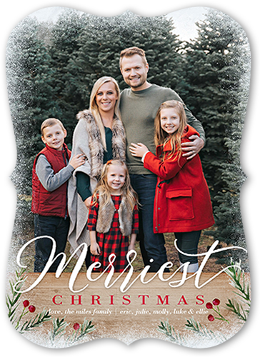 Frosted Merry Wood Christmas Card, Bracket Corners