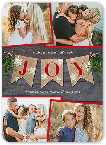 Joyous Banner Christmas Card, Rounded Corners