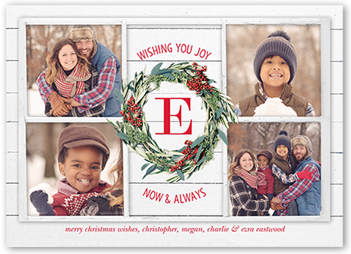 Wood Frame Monogram Christmas Card, Square Corners