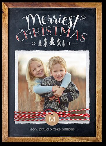 Chalkboard Twine Monogram Christmas Card, Square Corners