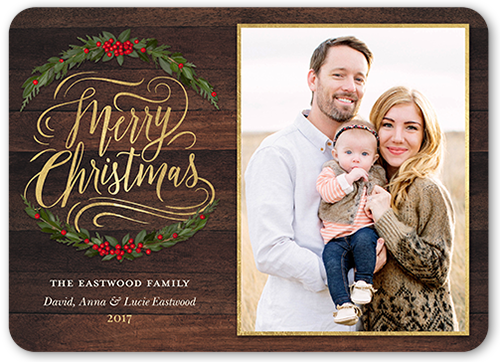 Merry Wooden Foliage Christmas Card