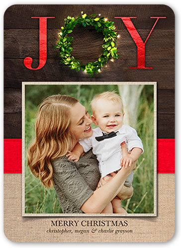 Big Joy Wreath Christmas Card, Rounded Corners