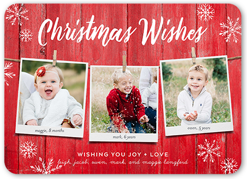 Rustic Hanging Wishes Christmas Card, Rounded Corners