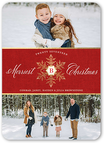 Elegant Season Greetings Christmas Card, Rounded Corners