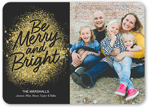Be Merry Dust Christmas Card, Rounded Corners