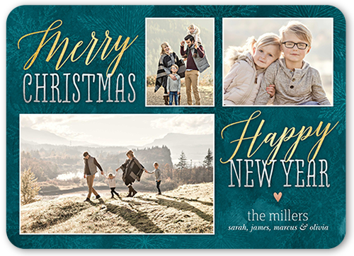 Cheerful Rustic Greeting Christmas Card, Rounded Corners