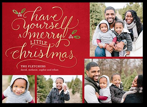 Seasonal Script Greeting Christmas Card, Square Corners