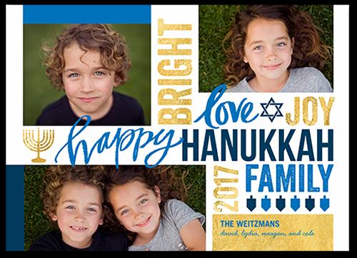 Bright Love Joy Hanukkah Card, Square