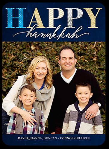 Elegantly Festive Hanukkah Card, Square