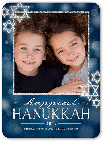 Bokeh Star Hanukkah Card