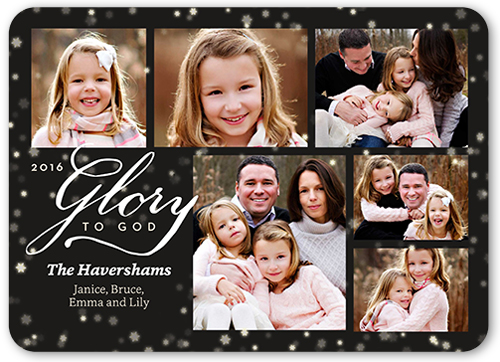 Glory To God Collage Religious Christmas Card Black