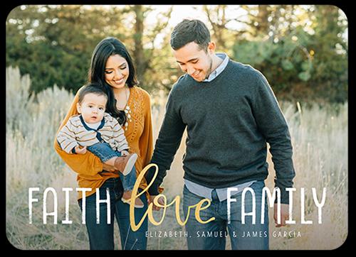 Faithful Family Love Religious Christmas Card, Rounded Corners