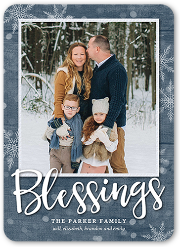 Simple Bokeh Blessings Religious Christmas Card, Rounded Corners
