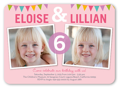 Bunting Abound Twin Birthday Invitation, Rounded Corners