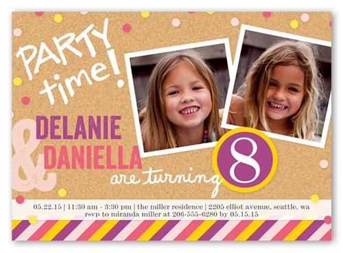 Bright Bulletin Board Twin Birthday Invitation