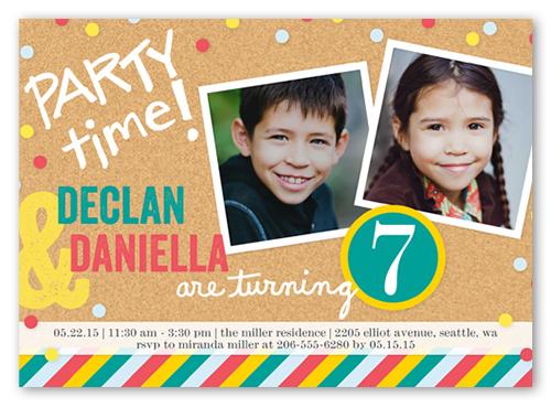 Bright Bulletin Board Twin Birthday Invitation Shutterfly