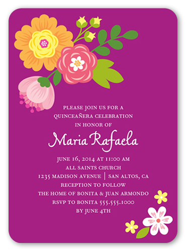 Bright Blooms Quinceañera, Rounded Corners