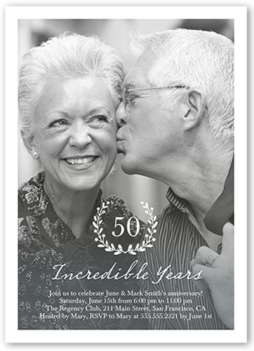 Incredible Years Wreath Wedding Anniversary Invitation, Square Corners