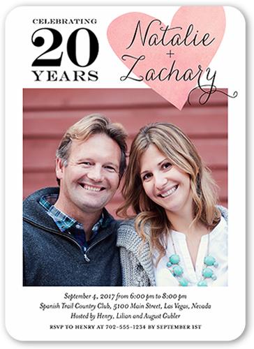 One Heart Wedding Anniversary Invitation, Rounded Corners