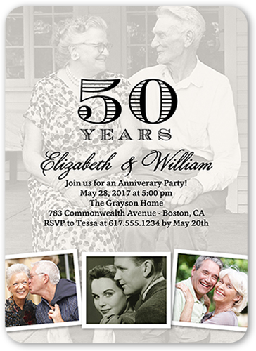 Memorable Years Together Wedding Anniversary Invitation, Rounded Corners