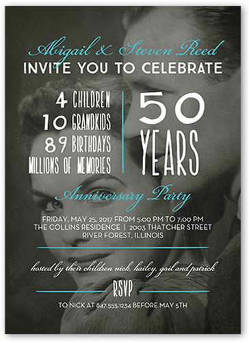 Celebrate The Years Wedding Anniversary Invitation, Square Corners