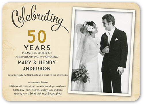 romantic frame 5x7 wedding anniversary invitations shutterfly usd