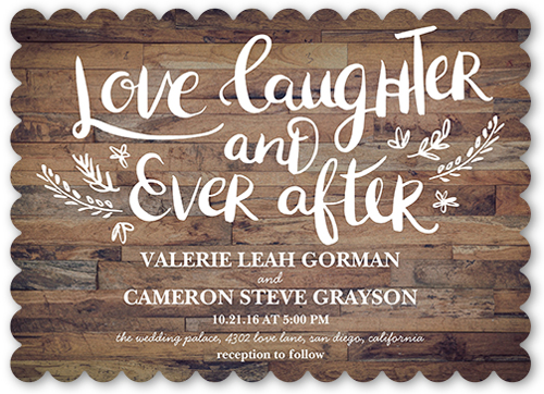 Love And Laughter Forever Wedding Invitation, Scallop Corners