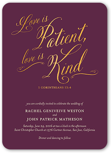 patient and kind wedding invitation - Shutterfly Wedding Invitations