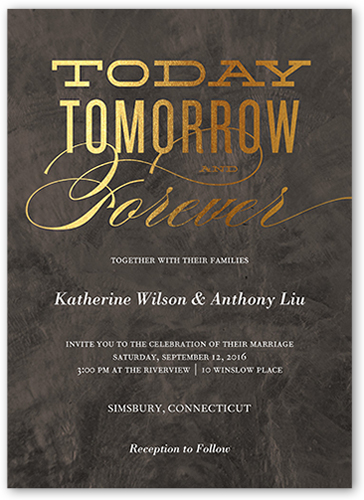 today tomorrow forever wedding card  wedding invitations  shutterfly, invitation samples