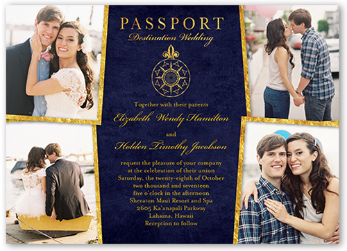 Enamored Passport Wedding Invitation, Square Corners
