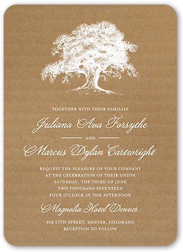 Rustic Statement Wedding Invitation, Rounded Corners