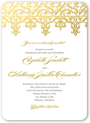 Elegantly Laced Wedding Invitation, Rounded Corners