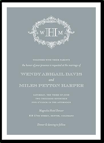 Flourishing Monogram Wedding Invitation, Square Corners