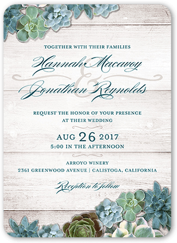 splendid succulents 5x7 wedding invitations | shutterfly,
