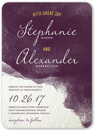Perfect Watercolor Wedding Invitation, Rounded Corners