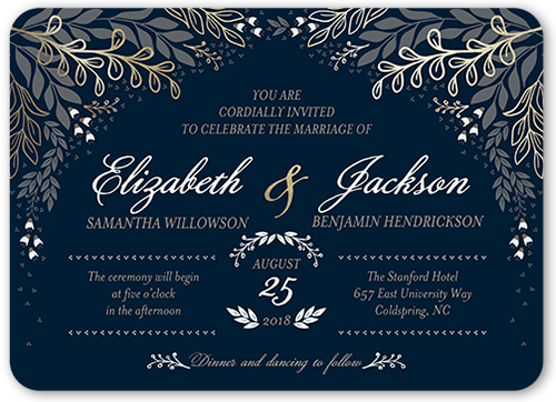 Affectionate Floral Wedding Invitation, Rounded Corners