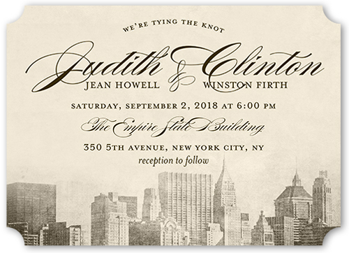 Vintage Skyline Wedding Invitation, Ticket Corners