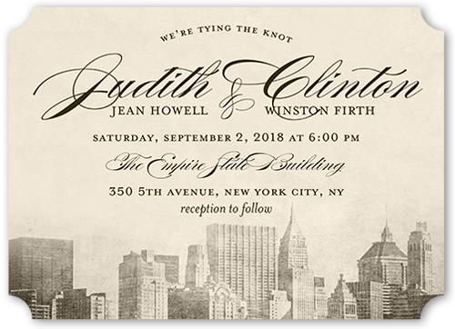 Vintage Skyline Wedding Invitation, Ticket Corners