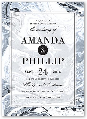 Marbled Elegance Wedding Invitation, Square Corners