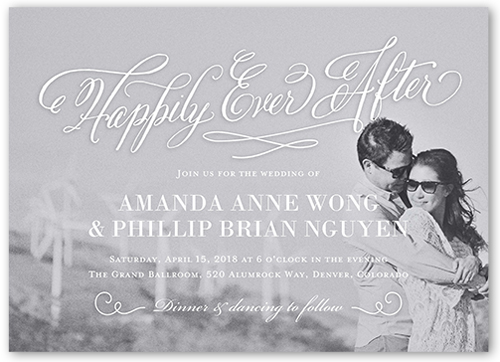 Elegant Ever After Wedding Invitation, Square Corners