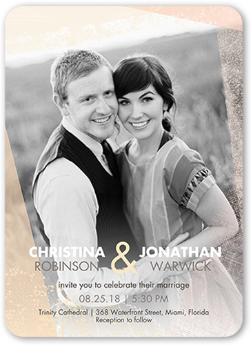 Textured Border Wedding Invitation, Rounded Corners