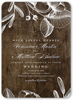 rustic and floral wedding invitation 5x7 flat