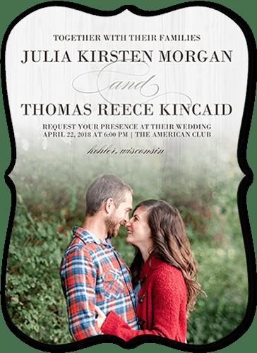 Gradient Wood Wedding Invitation, Bracket Corners