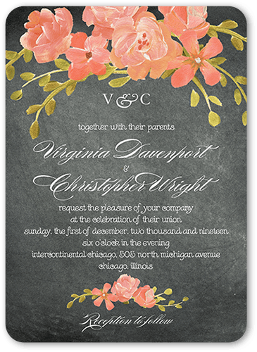 Chalkboard Floral Wedding Invitation, Rounded Corners