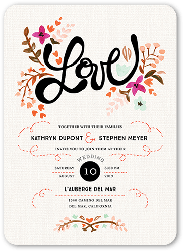 Lovely Botanical Wedding Invitation, Rounded Corners